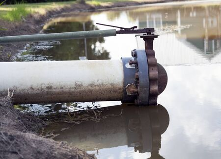 Profile of a drain pipe at pond