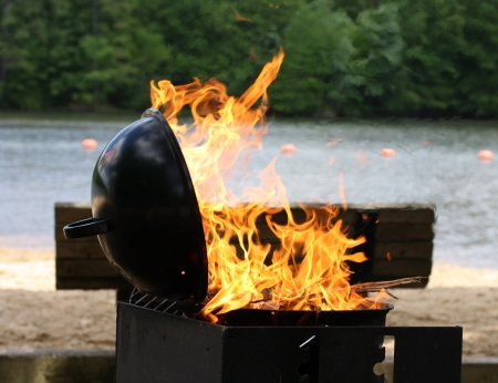 Barbecue grill fired up photo