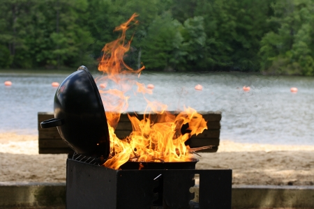 royalty free photo: Barbecue grill fired up