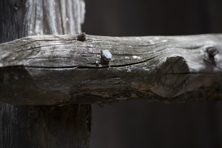 describing: Close-up of joint of wooden fence post Stock Photo