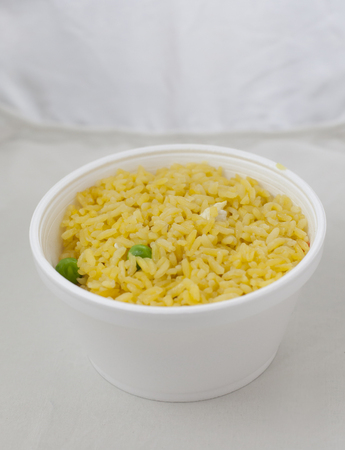 Takeout cup of fried rice