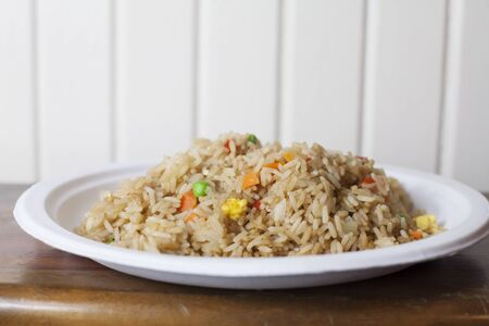 Close up of a large plate of Asian fried rice