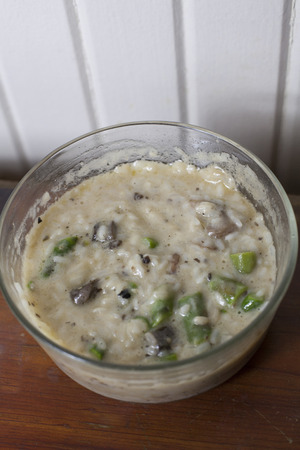 Close up of creamy mushroom and asparagus risotto