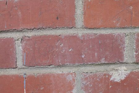 Extreme close up of red bricks in a wall