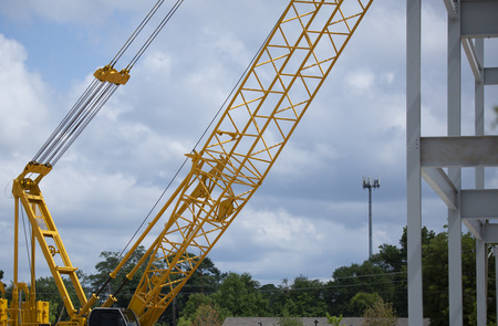 Construction crane and the edge of newly erected steel beams