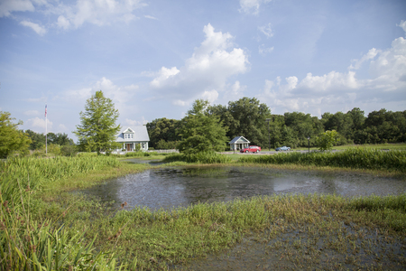 MONROE, LOUISIANA - June 20, 2014: Small pond with cars in the background Editorial