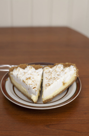 Two slices of lemon meringue pie on plate