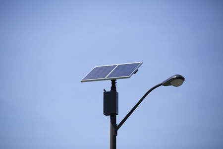 Solar panel on top of a street light