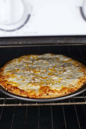 Cooked cheese pizza ready to be pulled out in the oven