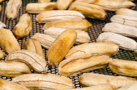 sundried: Sun-dried banana on sieve