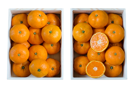 Oranges in wooden crates isolated on white background. (Top view from above)