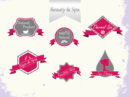 Set of cosmetics badges and labels Vector