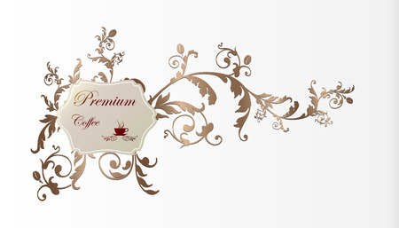 Coffee label and floral frame Vector
