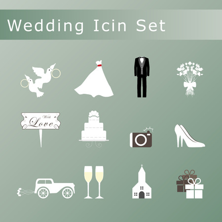 Wedding icons set. Vector
