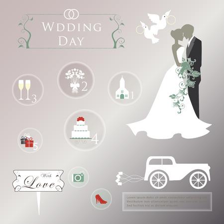 Set of wedding invitation vintage design elements Vector