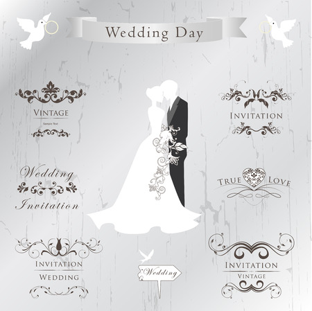 cabrio: Set of wedding invitation vintage design elements