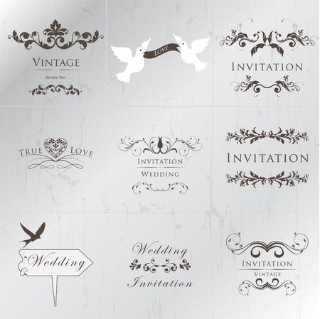 invitaci�n vintage: Colecci�n de la boda de la invitaci�n de la vendimia Vectores