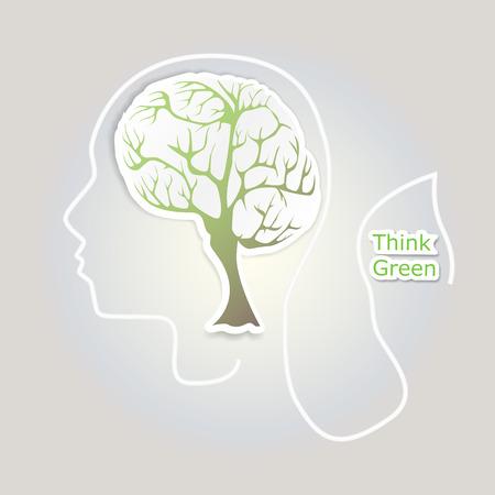 Brain tree illustration Vector