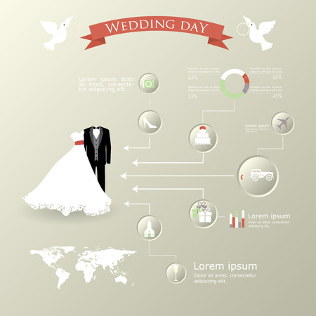 Wedding Planner Icons and Infographics  Vector