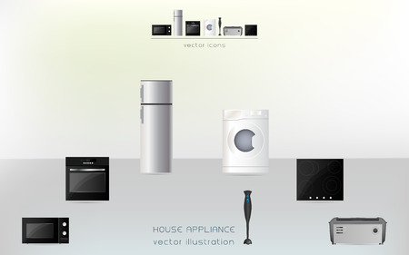 Kitchen and house appliances: microwave, washing machine, refrigerator, gas stove Vector