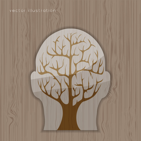 psychoanalysis: Brain tree illustration, tree of knowledge, medical, environmental or psychological concept  Illustration