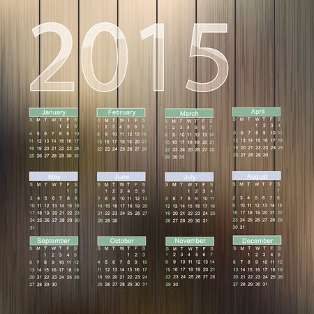 Calendar for 2015 on wood background. Vector