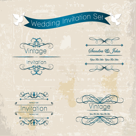 Vintage elegant wedding invitation set with flowers. Vector illustration. Vector