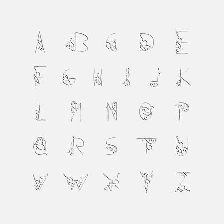 floral alphabet: Elegant Floral Alphabet Illustration