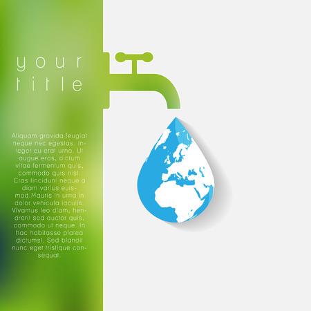 ahorrar agua: Plantilla de la ecolog�a de negocio abstracto. Ilustraci�n del vector.