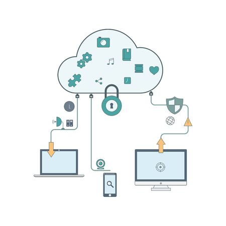 synchronization: Concept of cloud computing and protecting data Illustration