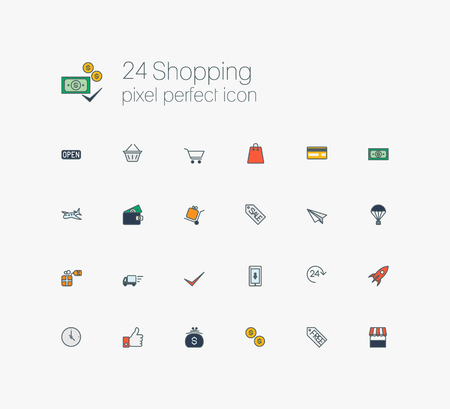 solid line: Solid web line icons set - E-commerce, shopping Illustration