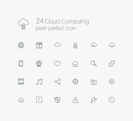 pixel perfect: Cloud computing pixel perfect line icon set for web, internet, computer, mobile apps, interface design