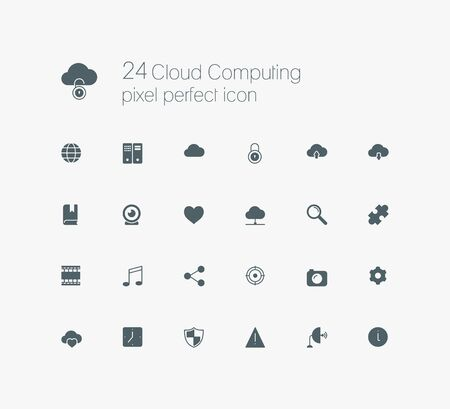 pixel perfect: Cloud computing pixel perfect solid icon set for web, internet, computer, mobile apps, interface design Illustration