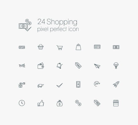 solid: Solid web line icons set - E-commerce, shopping Illustration