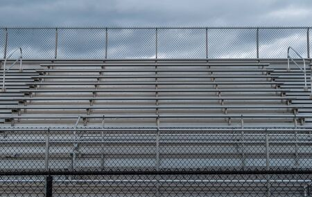 Outdoor sports field stadium bleacher seating.