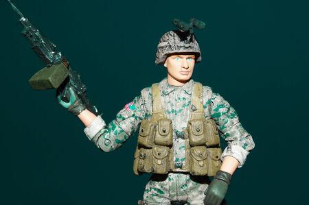 Plastic Toy Soldier Wielding a Gun