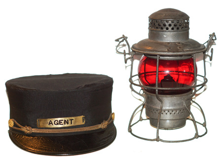 Railroad agent hat and red lantern