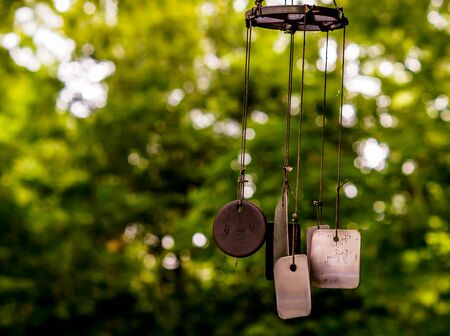 Wind chime dog tags at a plant nursery in Raleigh, NC