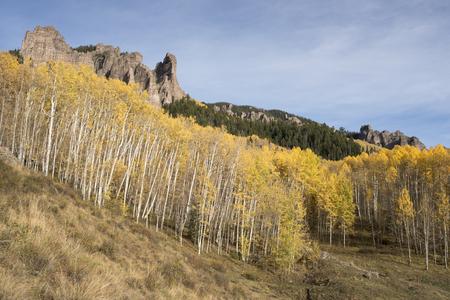 aspen tree: High Mesa Pinnacles in Cimarron Valley Colorado Stock Photo
