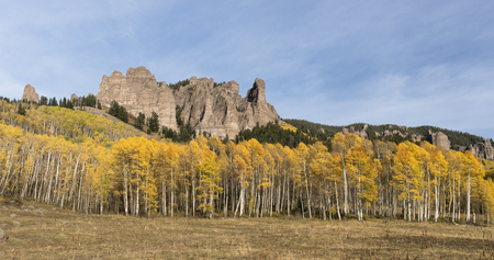 uncompahgre national forest: High Mesa Pinnacles in Cimarron Valley Colorado Stock Photo