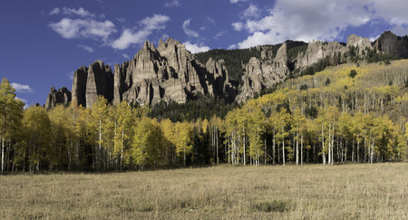 High Mesa Pinnacles in Cimarron Valley Colorado. Early Fall with approaching storm. Stock Photo
