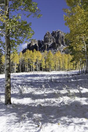 gold capped: High Mesa Pinnacles in Cimarron Valley Colorado.