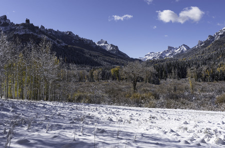 coxcomb: Coxcomb Peak viewed from Cimarron River Valley after early fall snow storm.