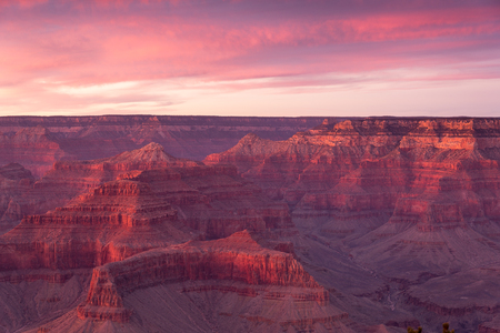 Grand Canyon National Park at Sunset in Winter with a View from the South Rim.