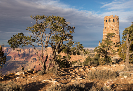 Desert View Watch Tower late afternoon from the south rim of the Grand Canyon National Park. Located in Northern Arizona.