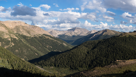 Panorama view from the top of Independence Pass are Casco located in San Isabel National Forest.