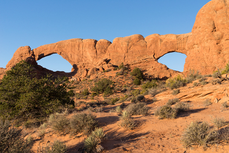 Double Arch is located in Arches National Park Utah Stock Photo