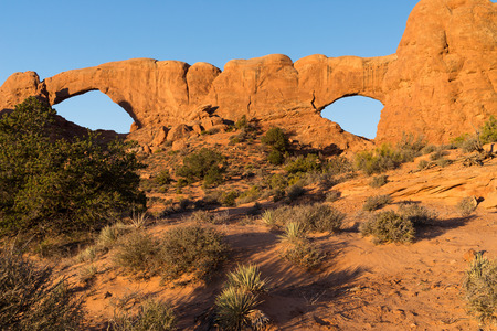 South and North Window Arch is located outside Moab Utah, in Arches National Park.