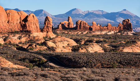 Garden of Eden with a new scenic road winding through vast Monoliths and Arches.  Arches National Park.  Arches is located North of the city of Moab.