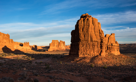 The Three Gossips, Courthouse Tower Rock and the Organ dominate the landscape at Arches National Park.